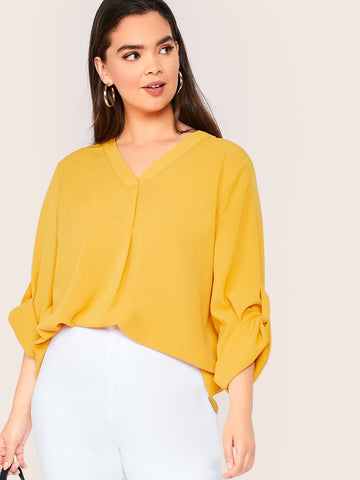 Plus Solid Tab Sleeve Top | Amy's Cart Singapore