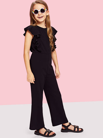 Girls Ruffle Trim Zip Back Round Neck Jumpsuit | Amy's Cart Singapore