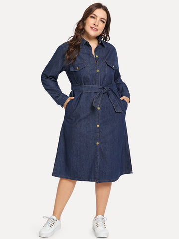 Plus Self Tie Collar Denim Dress | Amy's Cart Singapore