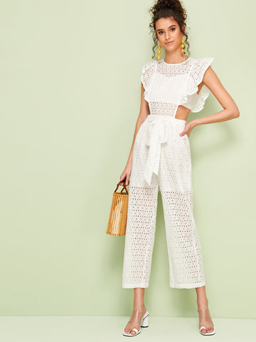 Eyelet Embroidery Cut Out Ruffle Trim Self Tie Jumpsuit | Amy's Cart Singapore