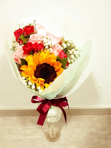 BHAVEESHA - THE SUNFLOWER, CARNATION & ROSE FLOWER BOUQUET | Amy's Cart Singapore