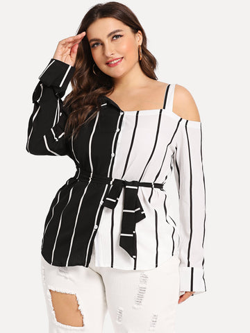 Plus Striped Open Shoulder Blouse | Amy's Cart Singapore