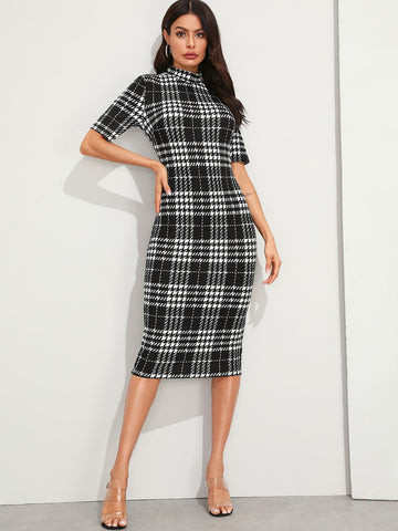 Mock Neck Plaid Pencil Dress | Amy's Cart Singapore