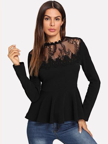Scallop Lace Mesh Yoke Peplum Top | Amy's Cart Singapore