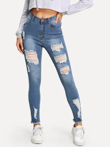 Ripped Raw Hem Faded Wash Jeans | Amy's Cart Singapore