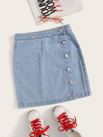 Plus Button Front Bleach Wash Denim Skirt | Amy's Cart Singapore