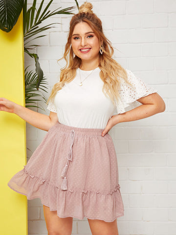 Plus Dobby Mesh Drawstring Waist Ruffle Hem Skirt | Amy's Cart Singapore