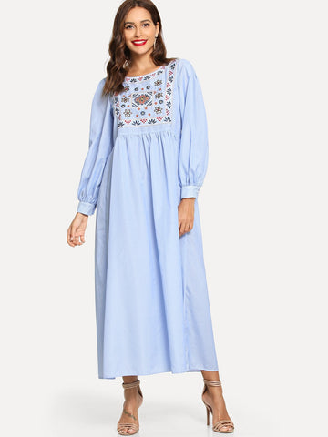 Embroidered Yoke High Waist Hijab Dress | Amy's Cart Singapore