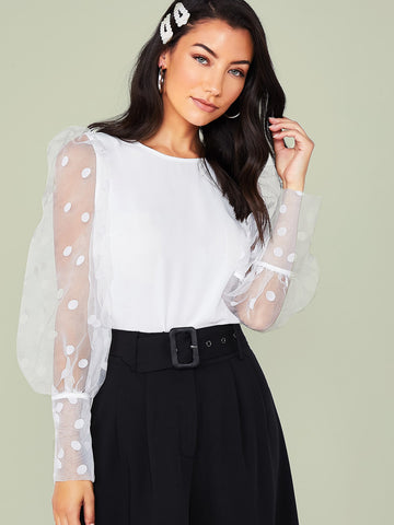Flocked Dot Mesh Lantern Sleeve Top | Amy's Cart Singapore