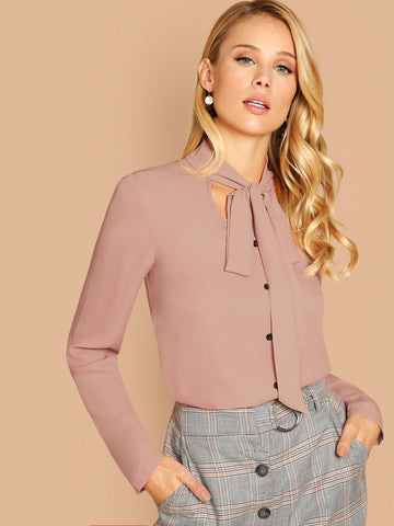 Tie Neck Button Through Solid Top | Amy's Cart Singapore