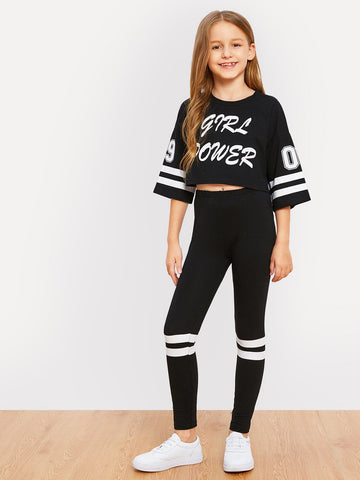Girls Letter and Striped Print Top and Leggings Set | Amy's Cart Singapore