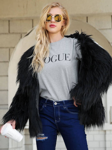 Solid Faux Fur Outerwear | Amy's Cart Singapore