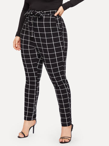 Plus Slant Pocket Belted Grid Skinny Pants | Amy's Cart Singapore