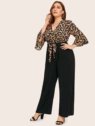 Plus Leopard Print Flounce Sleeve Belted Combo Jumpsuit | Amy's Cart Singapore