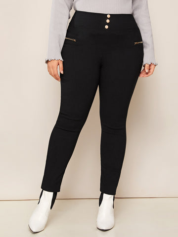 Plus Zip Detail Solid Skinny Jeans | Amy's Cart Singapore
