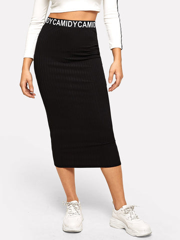 Waist Letter Ribbed Knit Skirt | Amy's Cart Singapore