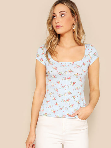Scoop Neck Ditsy Floral Tee | Amy's Cart Singapore