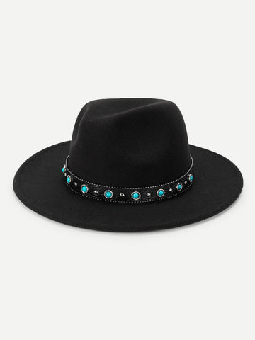 Faux Jewelry Decorated Panama Hat | Amy's Cart Singapore