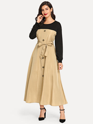 Button Detail Tie Waist Two Tone Hijab Dress | Amy's Cart Singapore