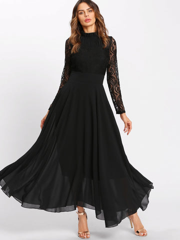 Lace Contrast Mesh Pleated High Waist Dress | Amy's Cart Singapore
