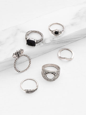 Rhinestone Geometric Ring Set 6pcs | Amy's Cart Singapore
