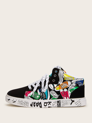 Men Random Graffiti Print Lace-up Front Sneakers | Amy's Cart Singapore