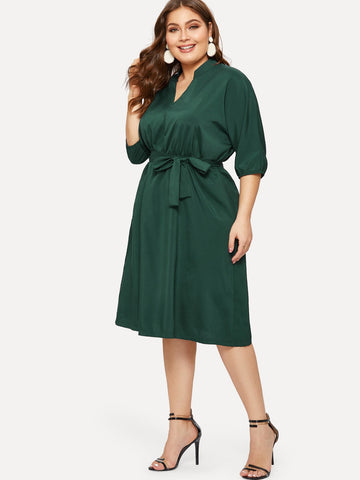 Plus Solid Self Tie Dress | Amy's Cart Singapore