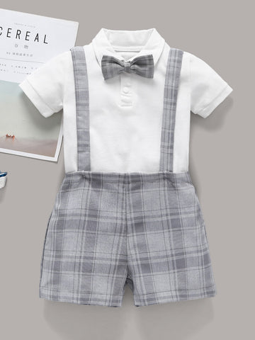 Baby Bow Front Romper With Plaid Straps Shorts | Amy's Cart Singapore