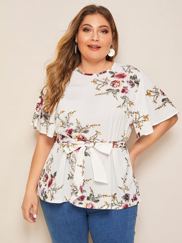 Plus Floral Print Button Keyhole Belted Blouse | Amy's Cart Singapore