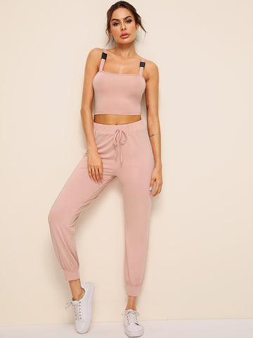 Buckle Crop Top With Drawstring Waist Pants | Amy's Cart Singapore