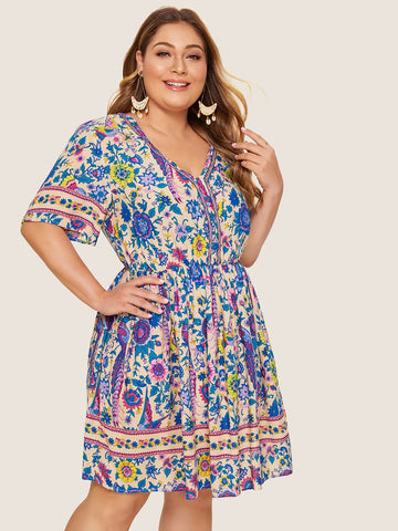 Plus V Neck Floral Print Dress | Amy's Cart Singapore