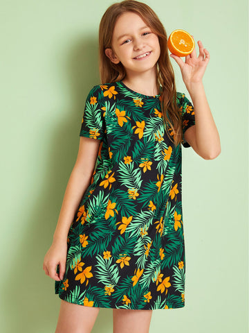 Girls Cut Out Back Botanical Print Dress | Amy's Cart Singapore