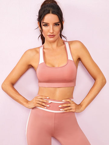 Contrast Panel Racer Back Sports Bra | Amy's Cart Singapore