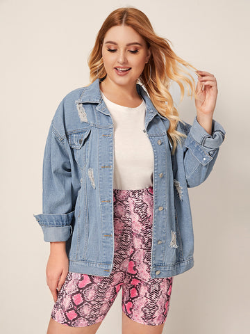 Plus Light Wash Ripped Denim Jacket | Amy's Cart Singapore