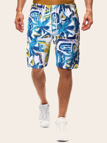 Men Tropical Print Drawstring Bermuda Shorts | Amy's Cart Singapore