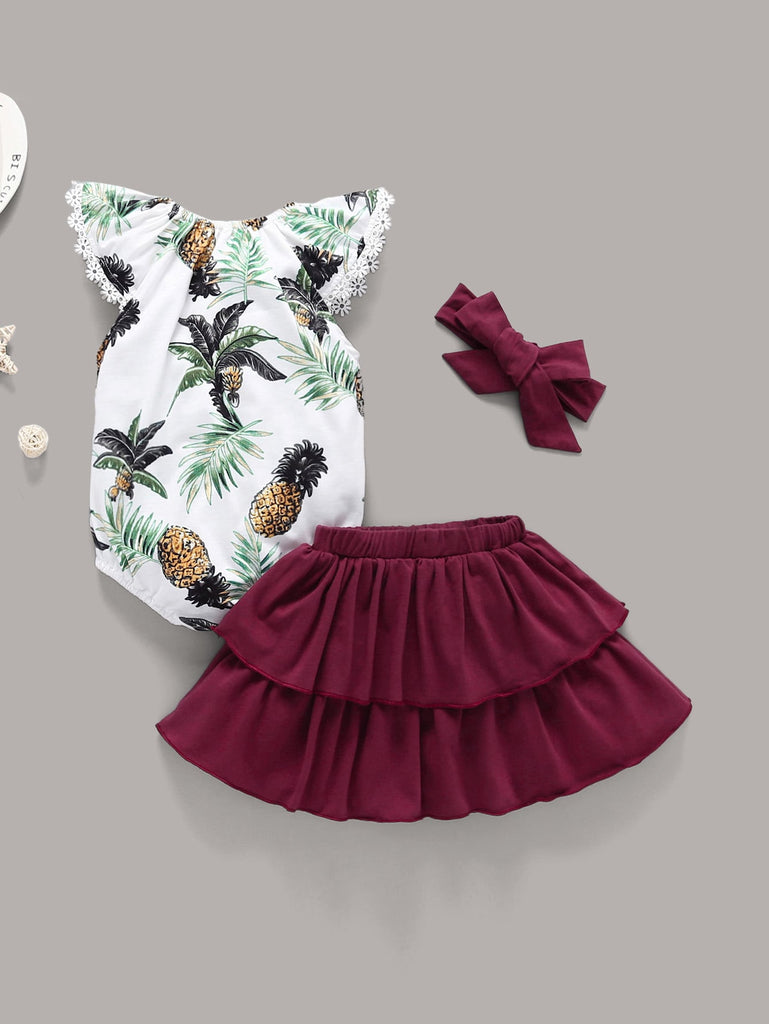 a948178dd Baby Pineapple Print Romper & Layered Skirt & Headband - Amy's Bouquets