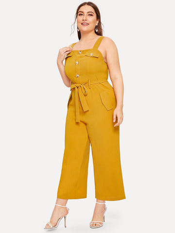Plus Button Front Belted Cami Jumpsuit | Amy's Cart Singapore