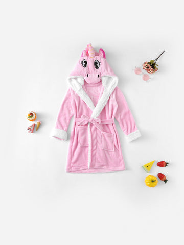 Christmas Girls Unicorn Self Belted Hooded Robe | Amy's Cart Singapore