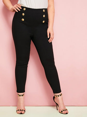 Plus Black Wash Button Front Skinny Jeans | Amy's Cart Singapore