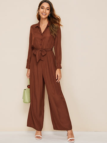 Button Front Belted Wide Leg Shirt Jumpsuit | Amy's Cart Singapore