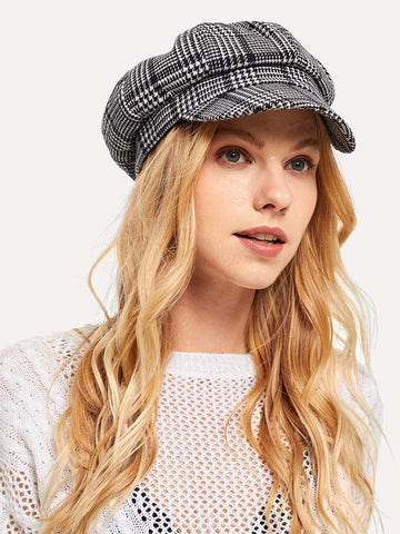 Houndstooth Baker Boy Cap | Amy's Cart Singapore