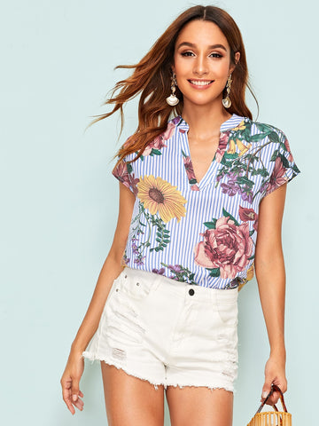 V Neck Striped & Floral Print Top | Amy's Cart Singapore