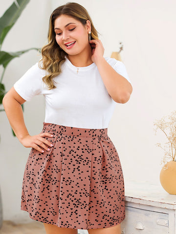 Plus Confetti Heart Print Skirt | Amy's Cart Singapore