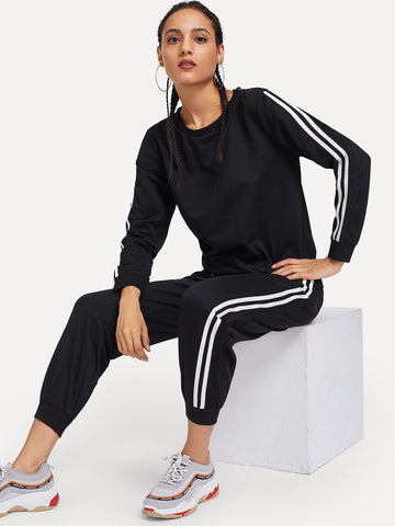 Tape Panel Sweatshirt With Pants | Amy's Cart Singapore