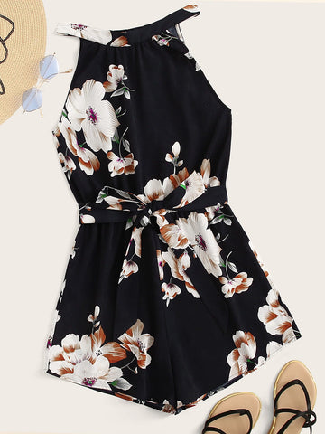 Floral Print Tie Back Halter Romper With Belt | Amy's Cart Singapore