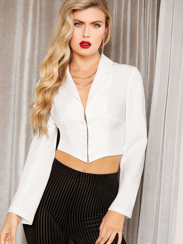 Notched Collar Hook and Eye Crop Blazer | Amy's Cart Singapore