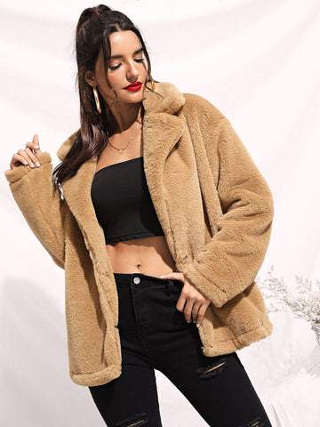 Notch Collar Open Front Teddy Coat | Amy's Cart Singapore