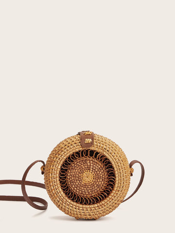 Round Shaped Woven Crossbody Bag | Amy's Cart Singapore