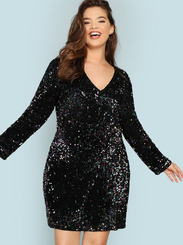 Plus V Neck Iridescent Sequin Dress | Amy's Cart Singapore