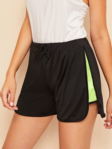 Neon Green Mesh Insert Dolphin Shorts | Amy's Cart Singapore